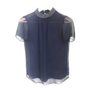 Zara Navy Blue Sheer Blouse w/ Beaded Neck - XS